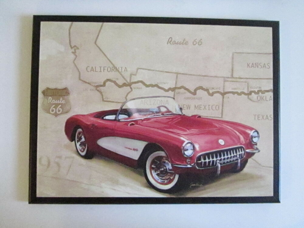 Vintage Auto Wall Decor : Vintage corvette car wall decor plaque hand crafted sign