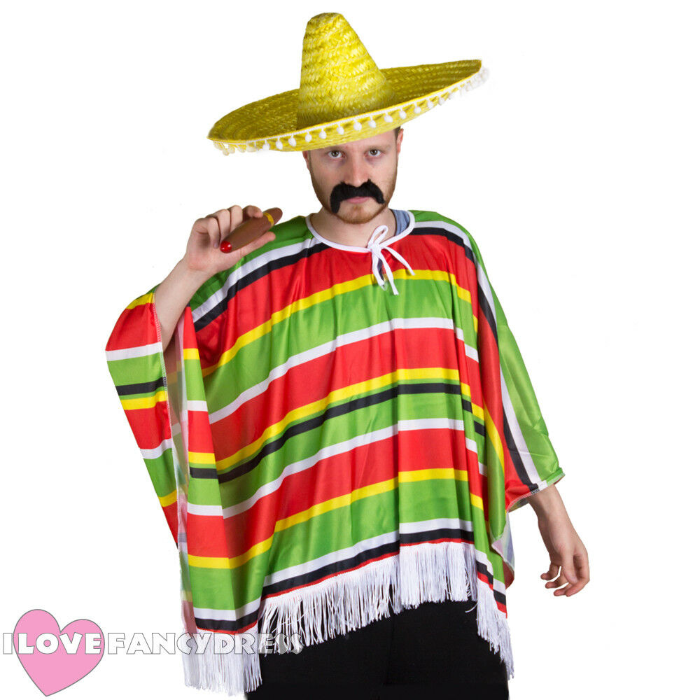 34505fb9cced9 MEXICAN PONCHO FANCY DRESS ADULT MEXICO PARTY BANDIT COSTUME MULTI COLOURED