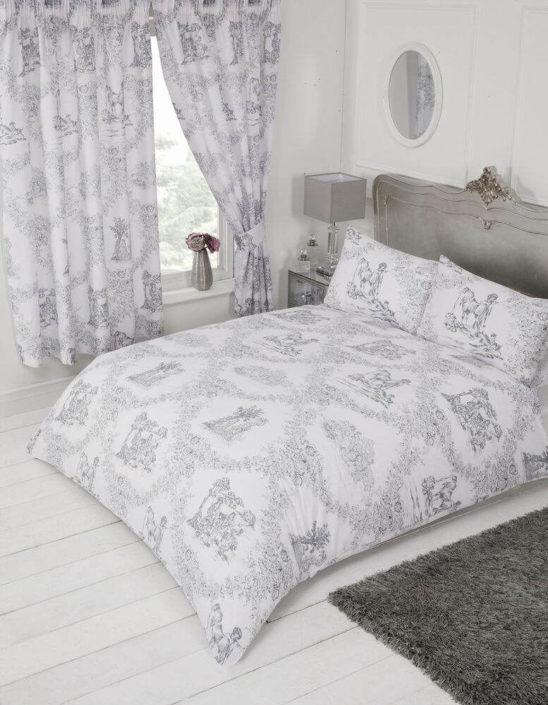 Toile De Jouy Grey White Floral Country Horse Dog Charcoal
