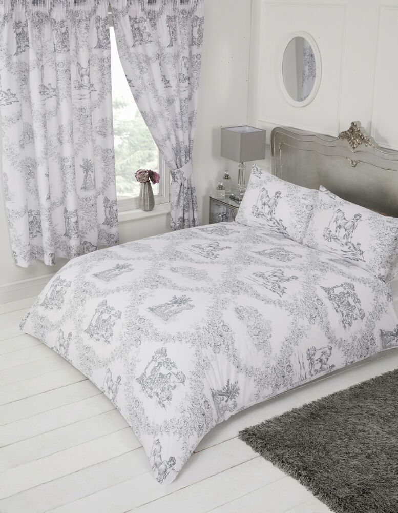 toile de jouy grey white floral country horse dog charcoal bedding or curtains ebay. Black Bedroom Furniture Sets. Home Design Ideas