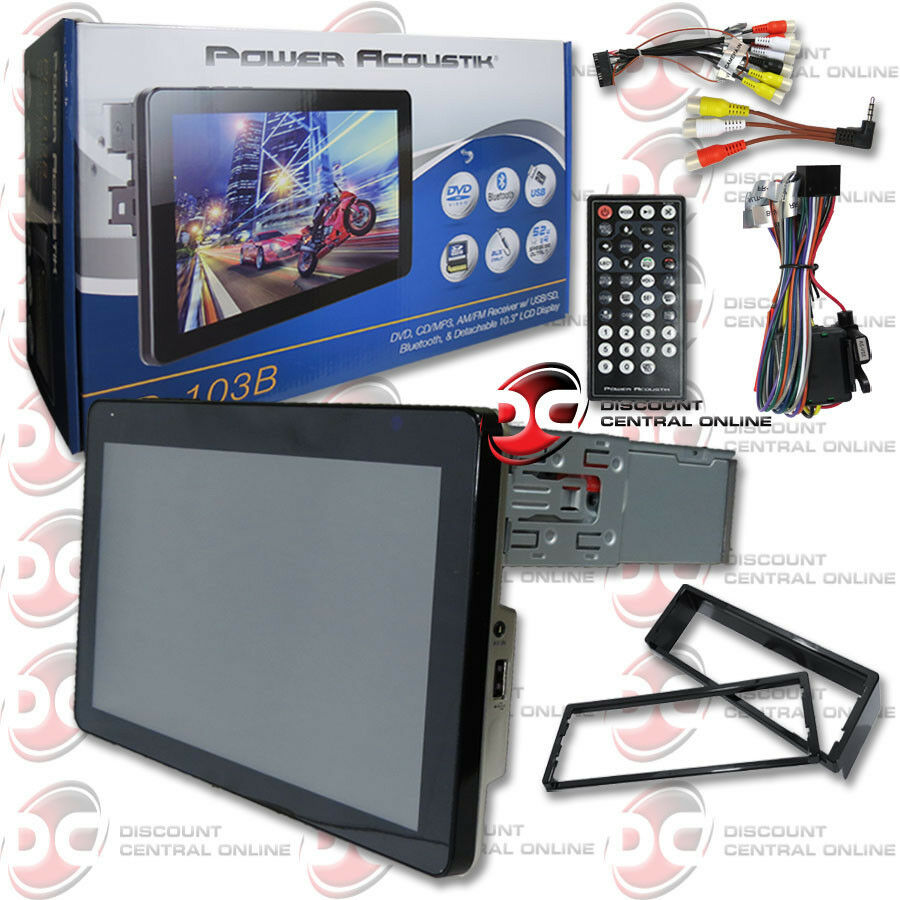power acoustik pd b din dvd cd stereo w  power acoustik pd 103b 1 din dvd cd stereo w 10 3 034 touchscreen lcd amp bluetooth