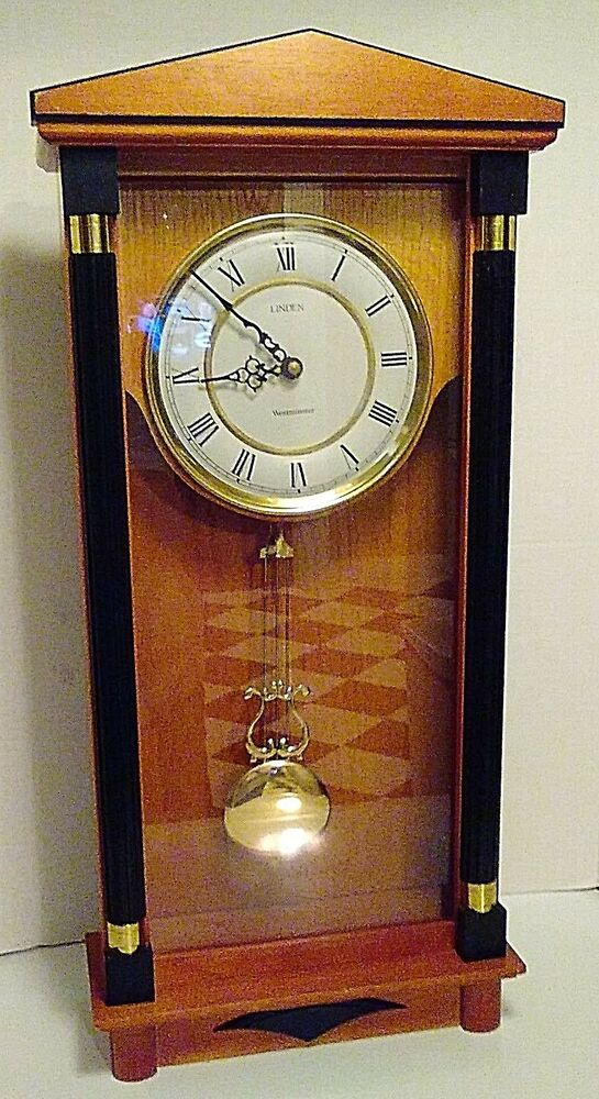 Linden westminster chime wood quartz wall or shelf clock for Quartz westminster chime wall clock