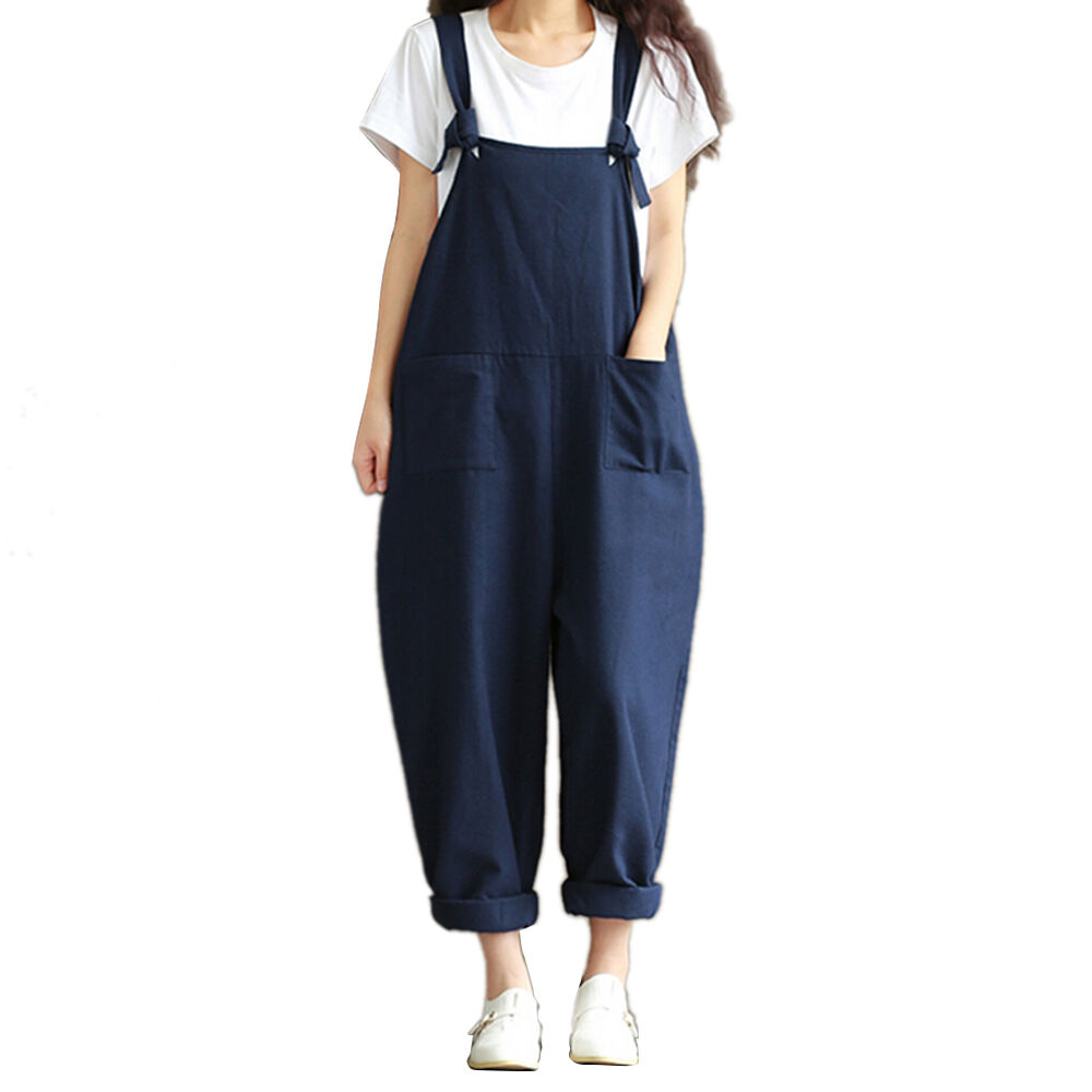 Womens Casual Strap Dungaree Jumpsuits Overalls Long ...
