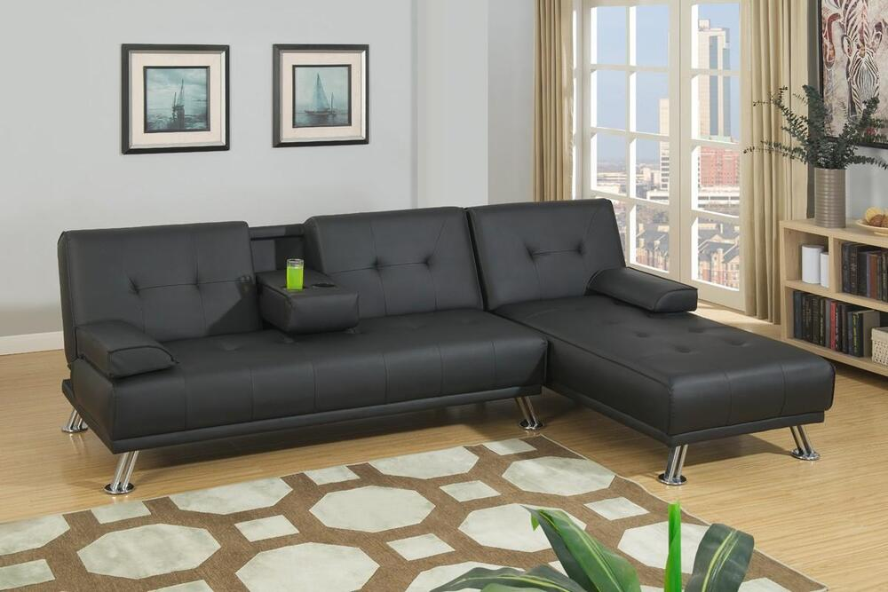 Poundex F7843 Black Faux Leather Adjustable Sectional Sofa Bed Ebay