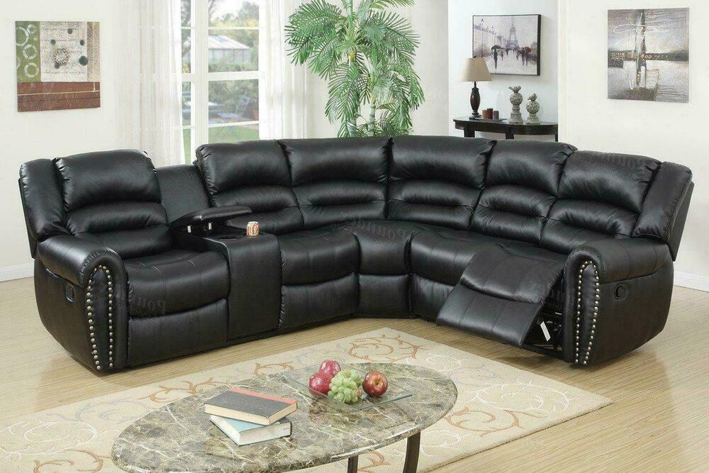 Poundex F6743 Black Bonded Leather Motion Sectional Cup