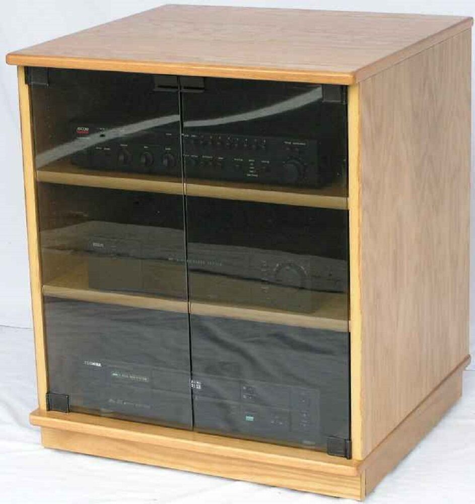 audio media cabinet with glass doors entertainment center stereo cabinet wood ebay. Black Bedroom Furniture Sets. Home Design Ideas
