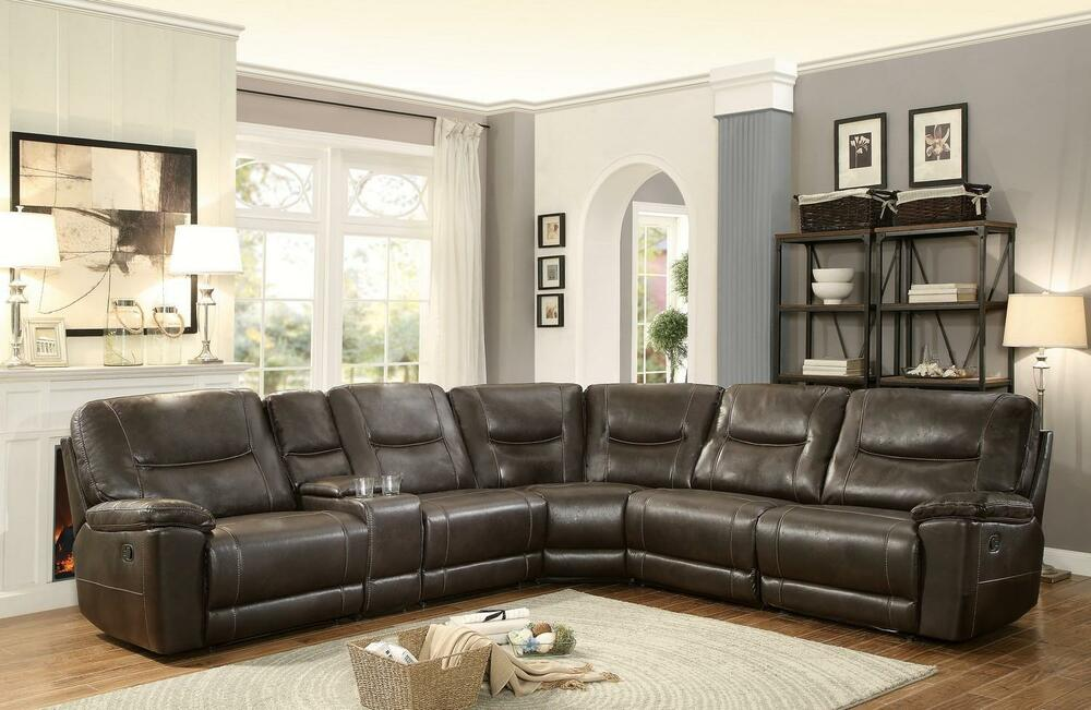 6pcs Dark Brown Leather Match Reclining Sectional