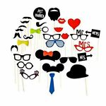 60 Party Props Photo Booth Moustache Birthday Engagement Wedding Funny B60060