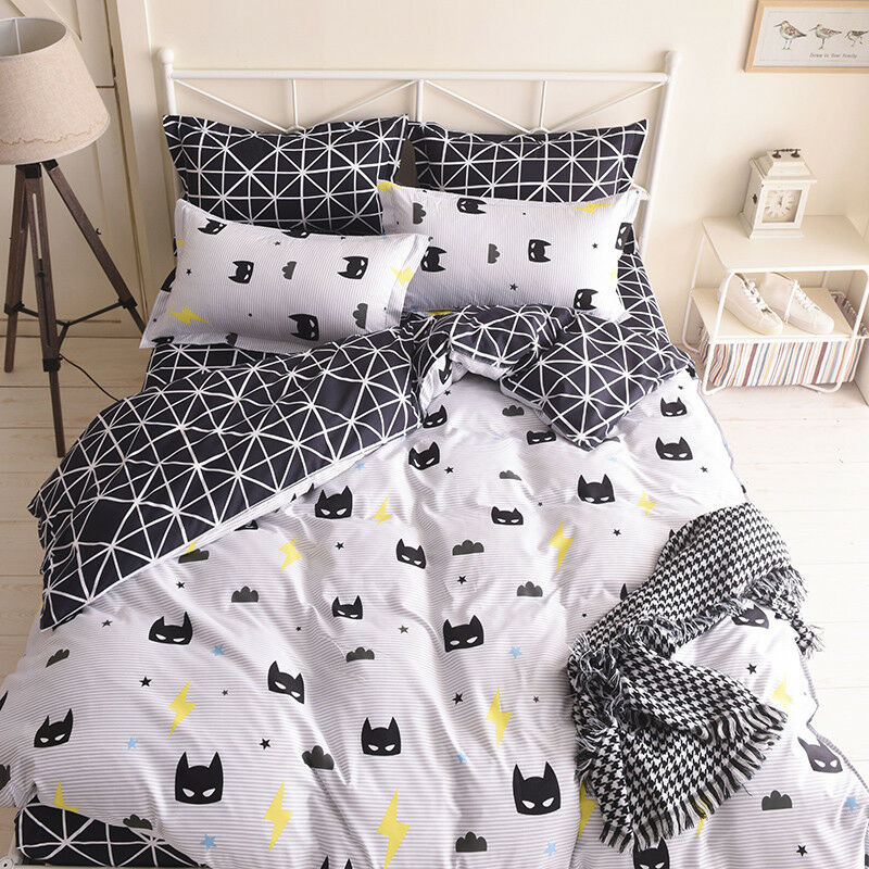 Black White Batman Bed Duvet Cover Quilt Cover Set Twin