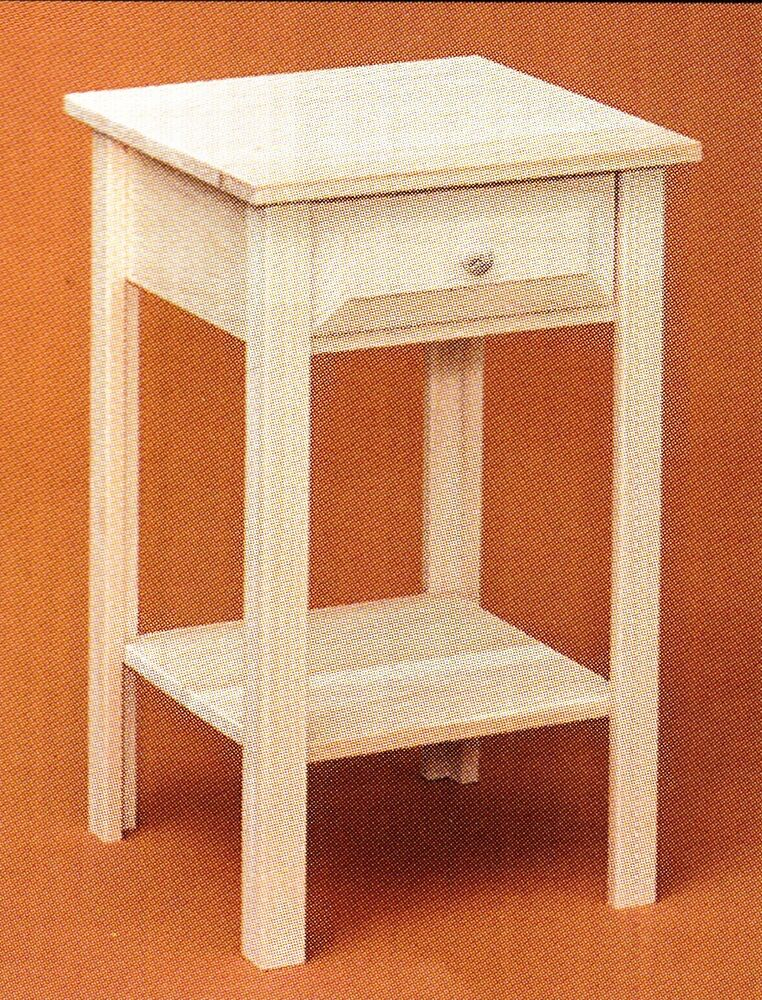 Amish Rustic Pine Unfinished Shaker Primitive Nightstand