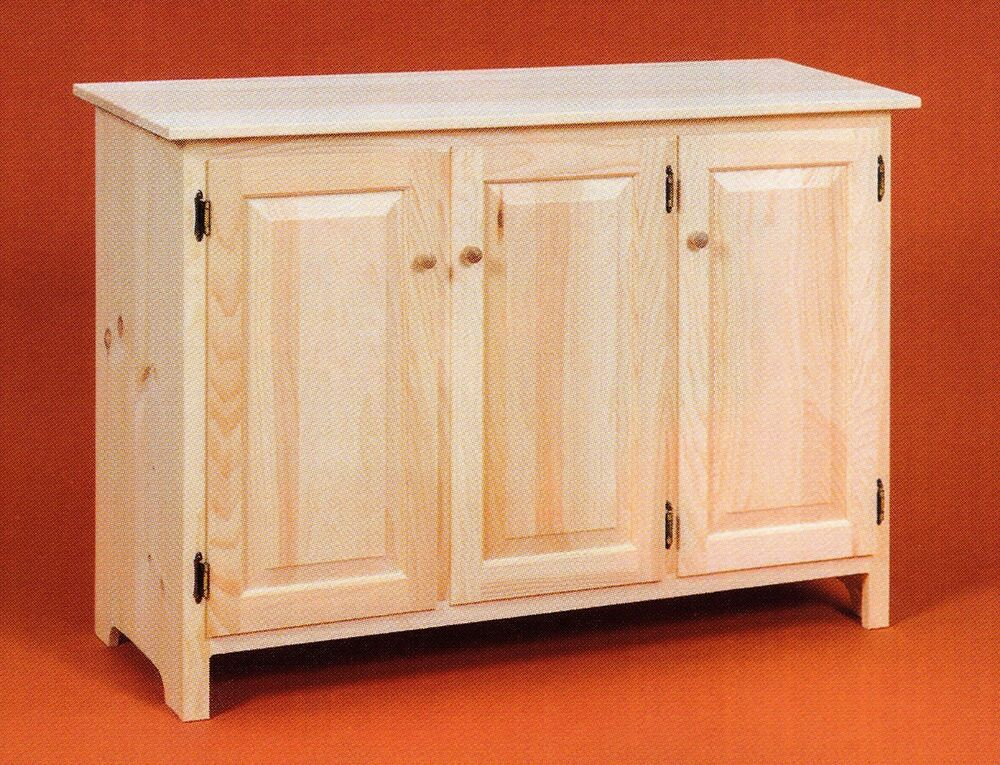 Amish Unfinished Solid Pine Rustic Sideboard Buffet