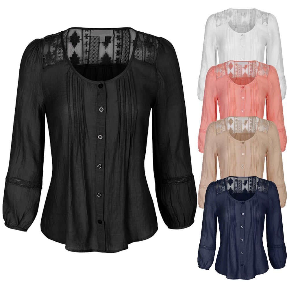 Women 39 S 3 4 Sleeve Button Down Blouse Shirts With Lace