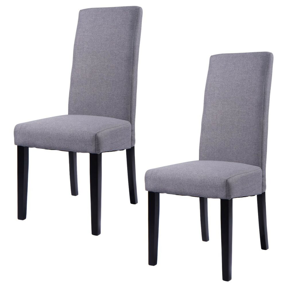 Set Of 2 Fabric Dining Chair Armless Accent Upholstered Wood Modern Living Ro