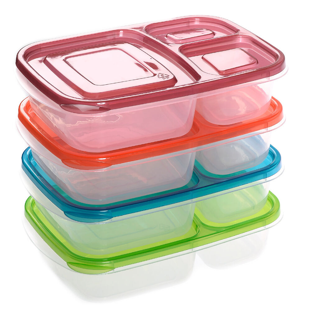 4 x quick lunch boxes 3 compartment bento lunch box containers classic set of 4 ebay. Black Bedroom Furniture Sets. Home Design Ideas