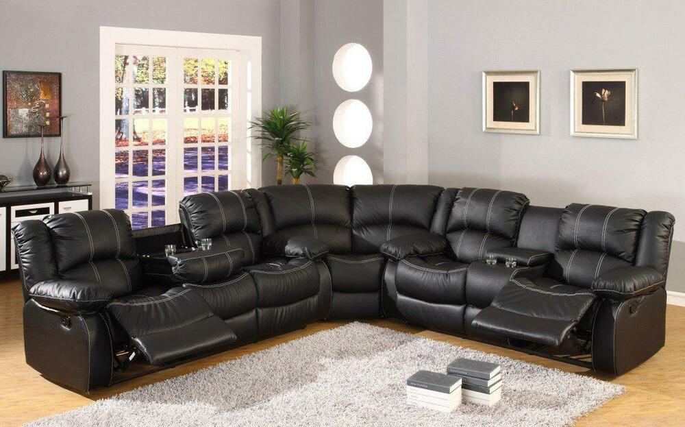 Mcferran SF3591 Black Leather Reclining Sofa Sectional Drop Down Table & sectional recliner sofas | Roselawnlutheran islam-shia.org