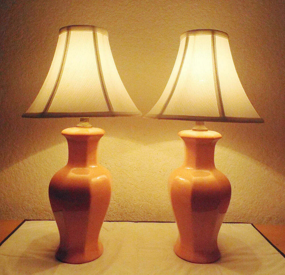 Lamps Vintage Pair Salmon Colored Ceramic Asian Themed
