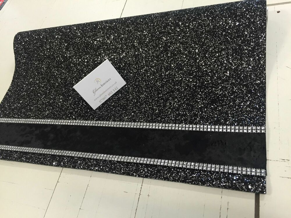 Black Amp Silver Glitter Roller Blind With Black Crushed