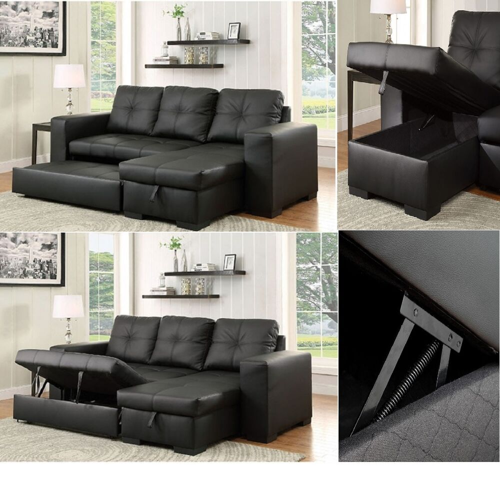 Reversible chaise sofa black leatherette contemporary for Black sectional with chaise