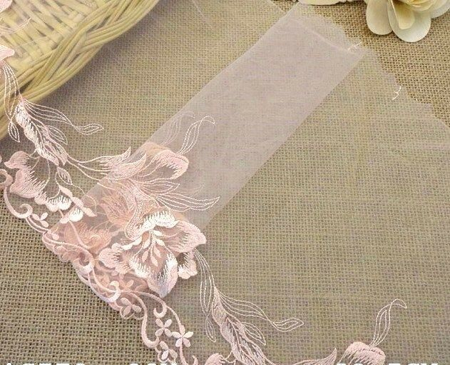 1 yard 9 venise embroidered lace trim tulle flower for Wedding dress with blue trim