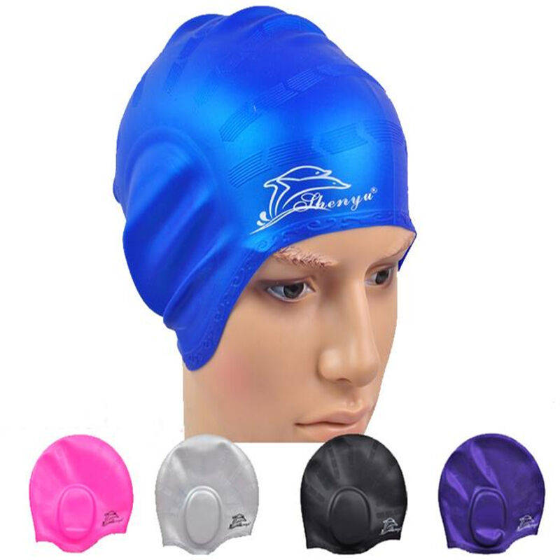 Waterproof Silicone Stretch Adults Swimming Cap Long Hair