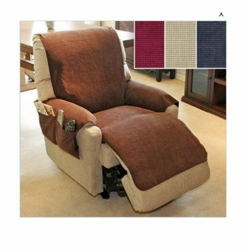 Chenille Recliner Chair Furniture Cover With Pockets 3
