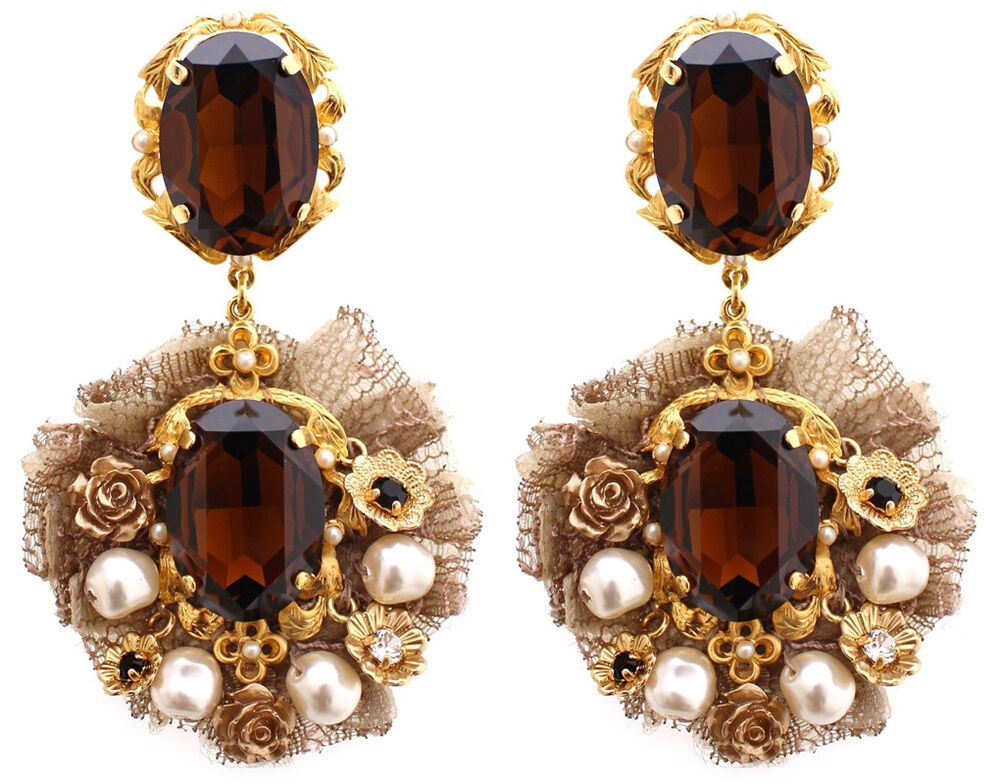 Dolce & Gabbana Gold Tone Crystals Baroque Pearls Earrings ...