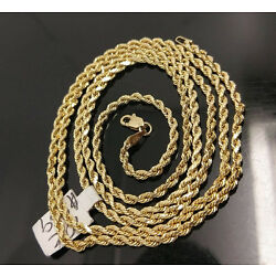 Kyпить 10K Gold Chain Solid Men Women Real Rope 3mm 18 20 22 24 26 28 Inch REAL  на еВаy.соm