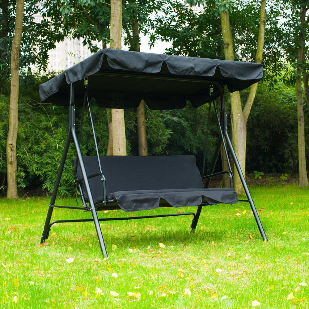 Patio swing chair 3 person outdoor garden hammock canopy awning bench seat black ebay - Garden furniture swing seats ...