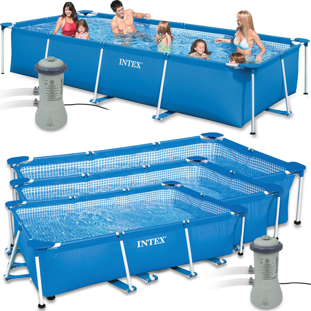 intex set family piscine piscine piscine rectangle frame avec pompe ebay. Black Bedroom Furniture Sets. Home Design Ideas