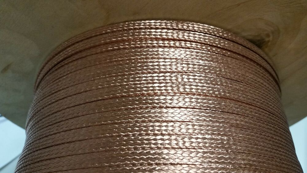 500 Ft Flat Braided Bare Pure Copper Wire 1 4 Quot Wide