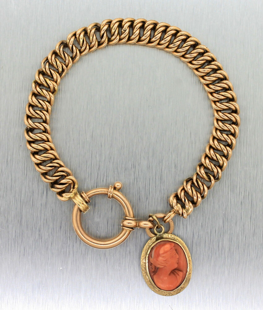 14k Yellow Gold Charm Bracelet: Ladies Antique 1920s 14K Yellow Gold Cameo Carved Portrait
