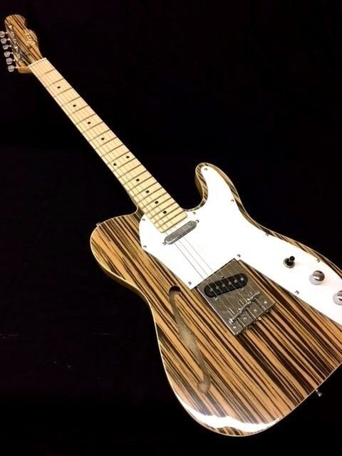 thinline 1969 tele style electric guitar semi hollow body with zebra finish ebay. Black Bedroom Furniture Sets. Home Design Ideas