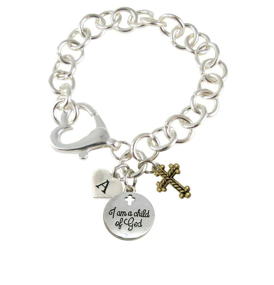 Cross Charm Bracelet: Custom I Am A Child Of God Initial Charms Silver Lobster