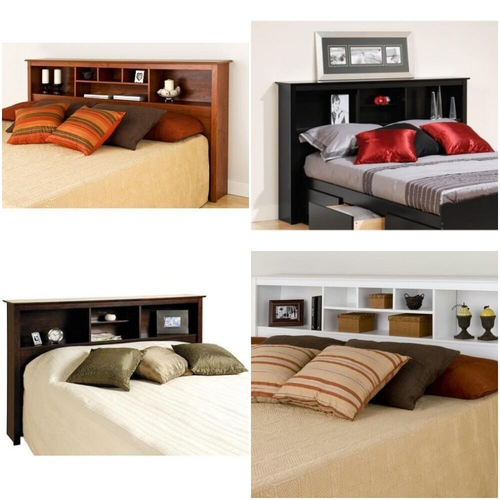 Headboard full queen king or twin size storage bed wood for Bookshelf bed headboard