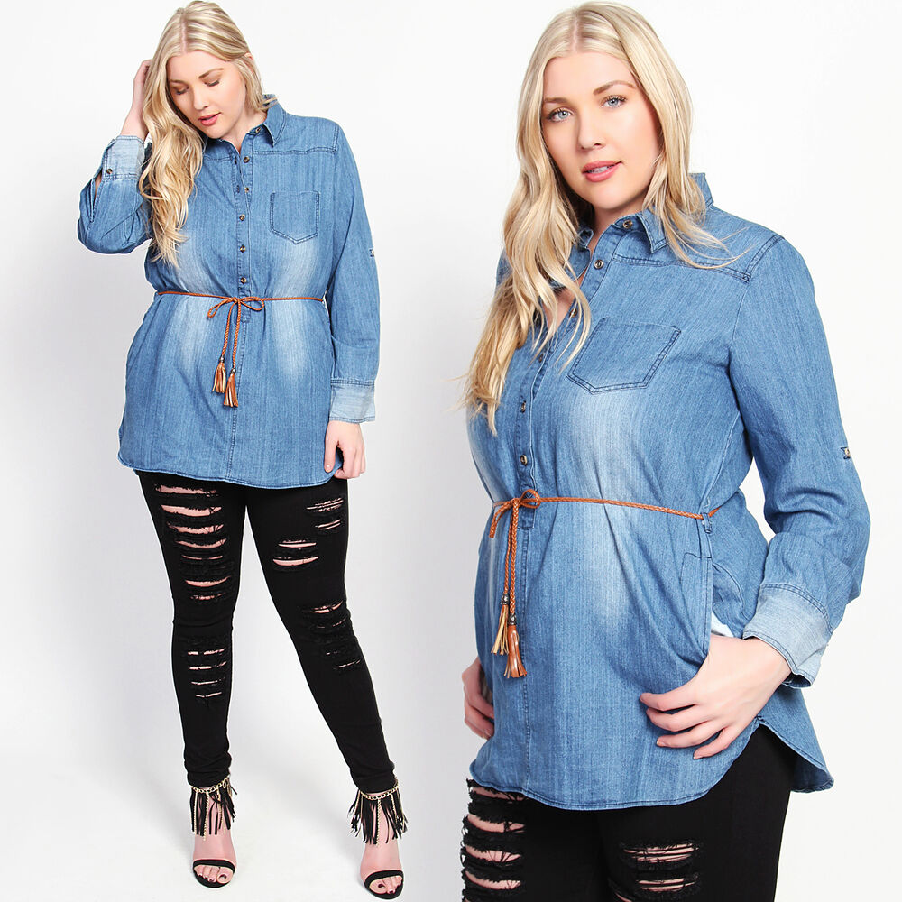 Themogan Plus Size Washed Denim Button Placket Belted Long