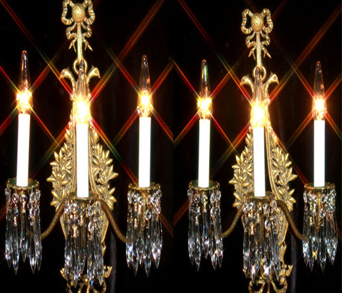 Antique Candle Chandeliers Champagne Crystal Chandelier: 2 Antique Candle Bird Bronze Brass French Crystal Sconces