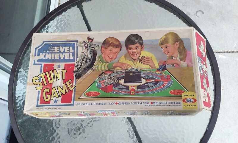 Vintage Evel Knievel In His: Evel Knievel Stunt Game Ramp Cycle Vintage 1974 Ideal Rare