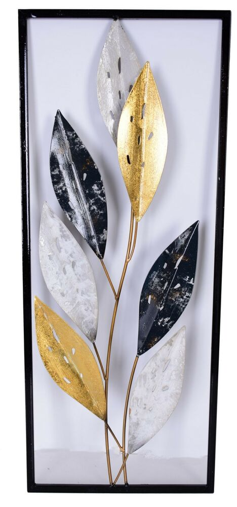 Wall Decor Gold Leaves : Black gold leaves metal wall art cm hanging sculpture