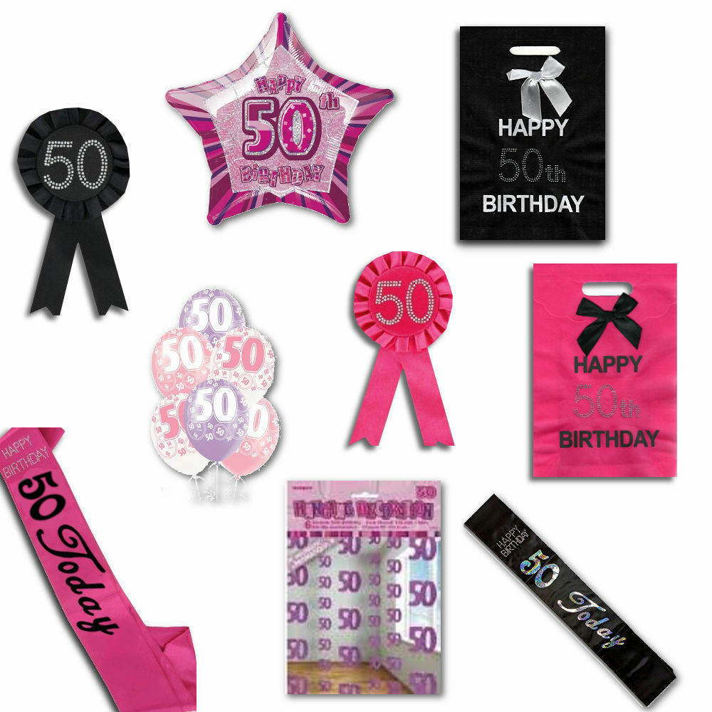 50th Birthday Party Range, Balloons, Rosettes, Bags, Cards