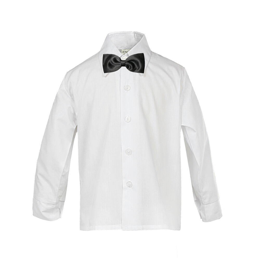 Baby boy formal tuxedo suit white button down dress shirt for Baby shirt and bow tie