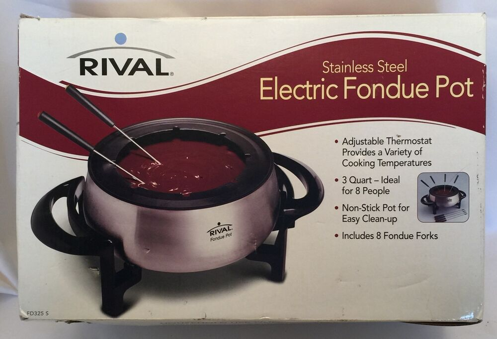 Rival 3 Qt Electric Fondue Pot Fd325s 8 Forks Stainless