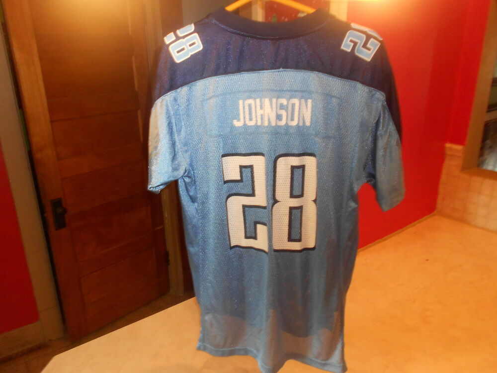 d0434b5e8a1 PRE-OWNED NFL TENNESSEE TITANS CHRIS JOHNSON  28 REEBOK JERSEY YOUTH SIZE  XL