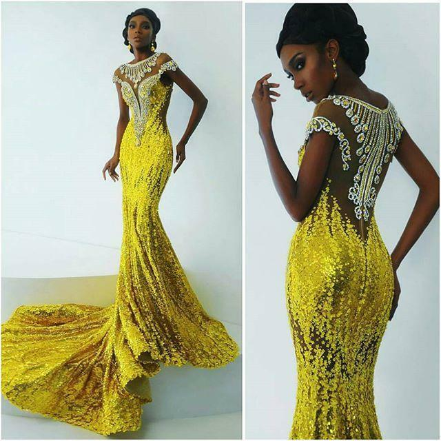Yellow Mermaid African Evening Dress Luxury Bead Sequins