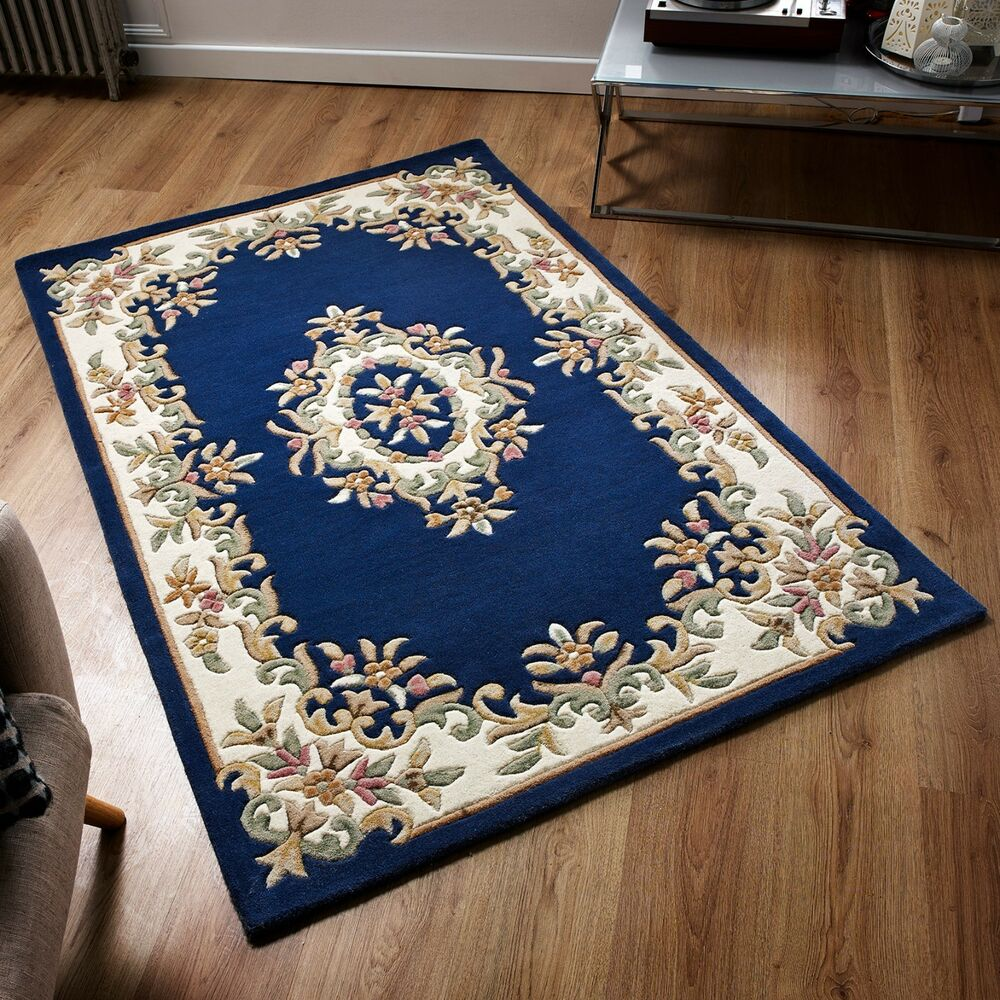 Royal Aubusson Blue Wool Rug In Various Sizes Half Moon