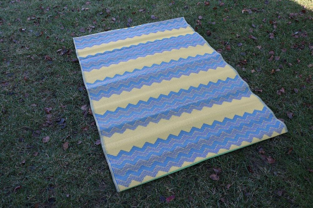 New Modern Outdoor Stripe Recycled Blue Zig Zag Chevron