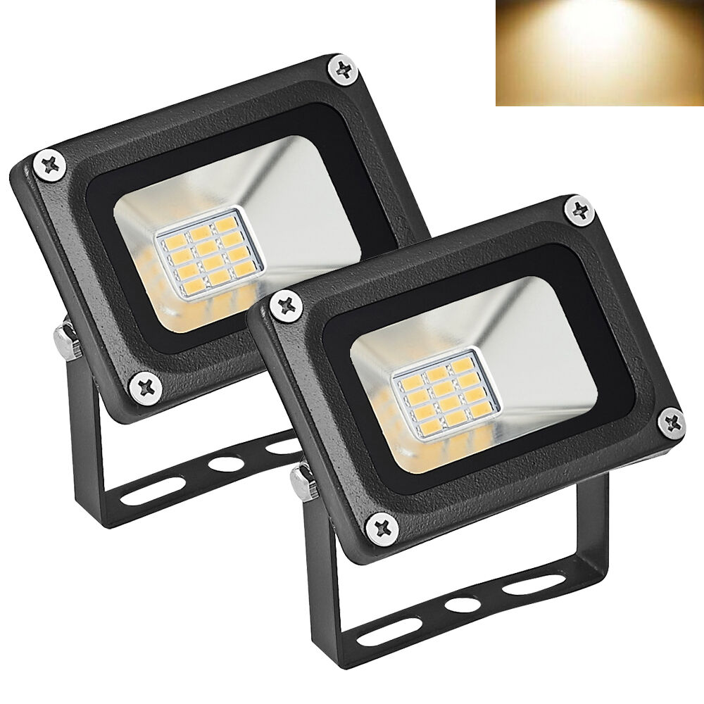 2x 10w 12v led fluter strahler scheinwerfer 12 volt warmwei au en flutlicht neu ebay. Black Bedroom Furniture Sets. Home Design Ideas