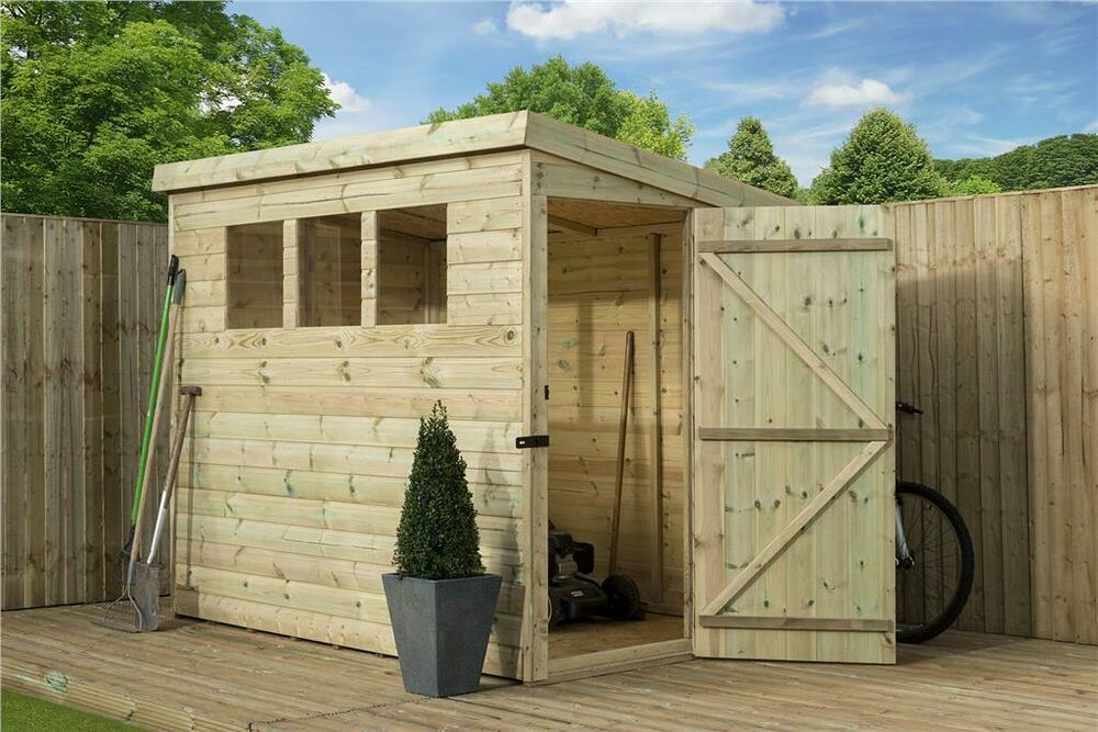 Garden shed 8x5 shiplap pent roof tanalised windows for Garden shed 8x5