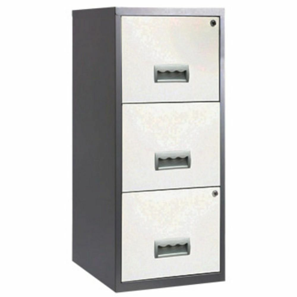 3 drawer pierre henry steel white silver lockable filing for Black and silver cabinet