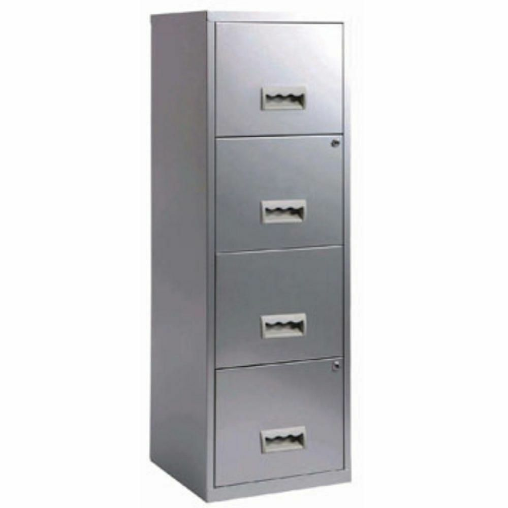 4 drawer pierre henry steel silver grey lockable filing for Black and silver cabinet