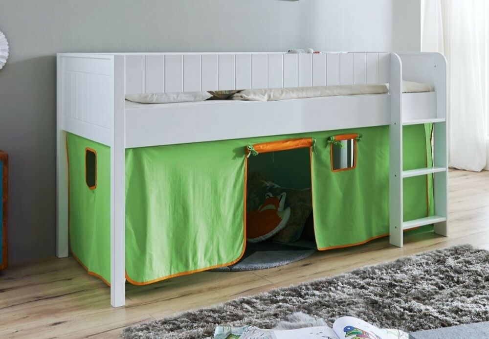 hochbett luka 3 kinderbett spielbett halbhohes bett wei stoffset gr n orange ebay. Black Bedroom Furniture Sets. Home Design Ideas